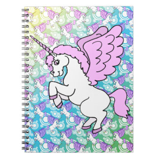 White and Pink Unicorn Notebook