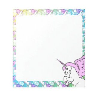 White and Pink Unicorn Notepad