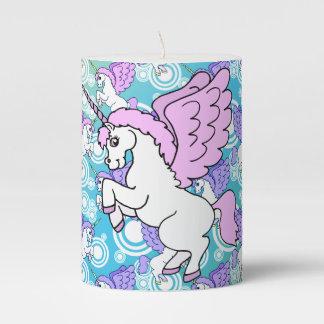 White and Pink Unicorn Pillar Candle