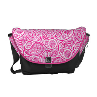 White And Pink Vintage Ornate Paisley Courier Bags