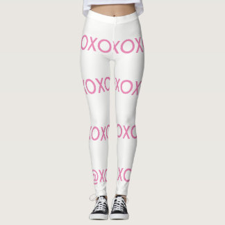White and pink xo leggings