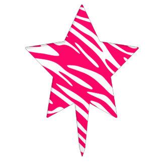 White and Pink Zebra Stripes Cake Pick Topper