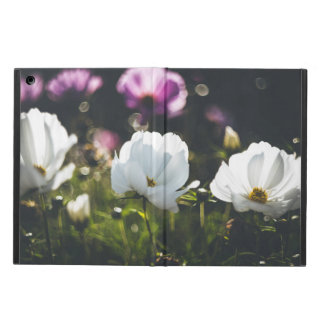 White and purple anemone flowers cover for iPad air