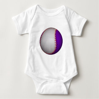 White and Purple Baseball / Softball Baby Bodysuit