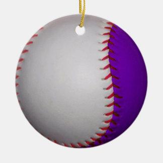 White and Purple Baseball / Softball Ceramic Ornament