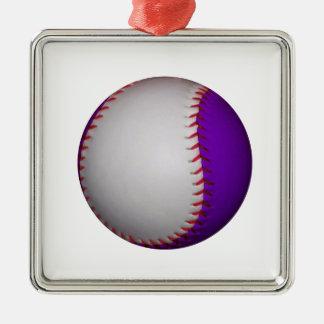 White and Purple Baseball / Softball Metal Ornament