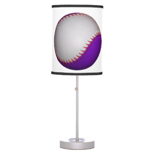 White and Purple Baseball / Softball Table Lamp