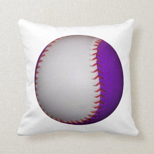 White and Purple Baseball / Softball Throw Pillow