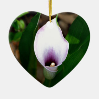 White and Purple Calla Lily Ceramic Ornament