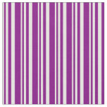 [ Thumbnail: White and Purple Colored Striped Pattern Fabric ]