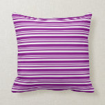 [ Thumbnail: White and Purple Colored Striped Pattern Pillow ]