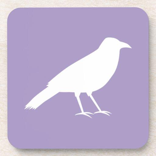 White and Purple Crow Design. Beverage Coaster