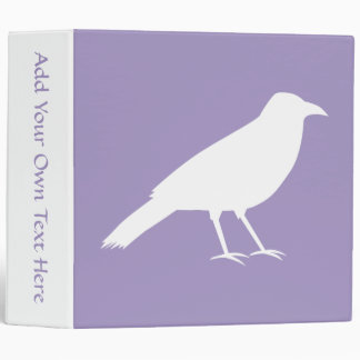 White and Purple Crow Design. 3 Ring Binders