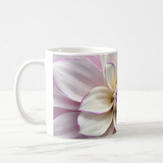 White and purple dahlia flower coffee mug