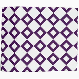 White and Purple Diamond Pattern 3 Ring Binder