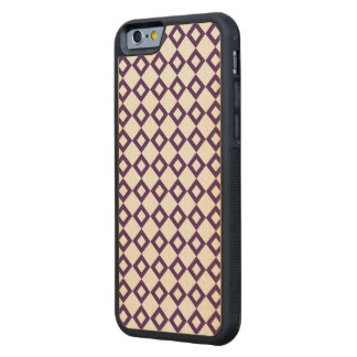 White and Purple Diamond Pattern Carved® Maple iPhone 6 Bumper Case