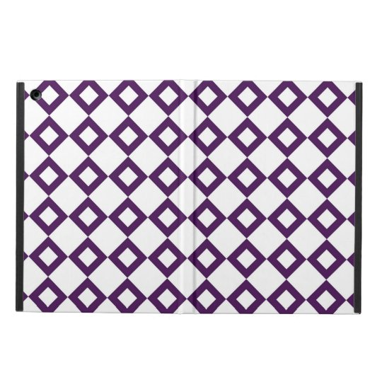 White and Purple Diamond Pattern Case For iPad Air