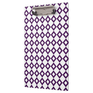 White and Purple Diamond Pattern Clipboard