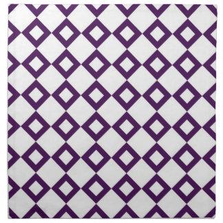 White and Purple Diamond Pattern Cloth Napkin