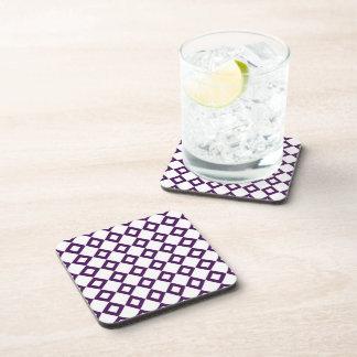 White and Purple Diamond Pattern Drink Coaster