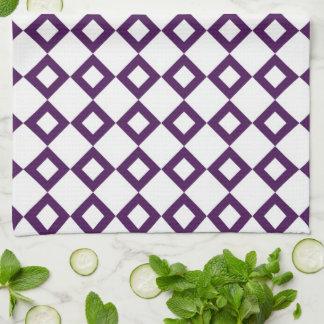 White and Purple Diamond Pattern Hand Towel