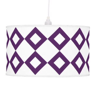 White and Purple Diamond Pattern Hanging Lamp