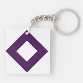White and Purple Diamond Pattern Key Chains