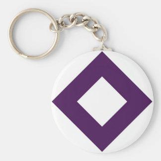 White and Purple Diamond Pattern Basic Round Button Keychain