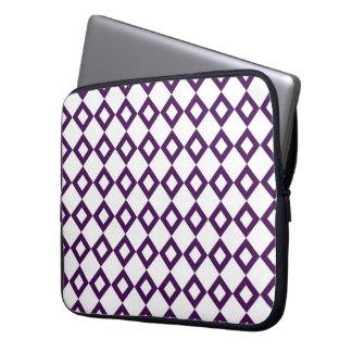 White and Purple Diamond Pattern Laptop Computer Sleeve
