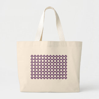 White and Purple Diamond Pattern Large Tote Bag