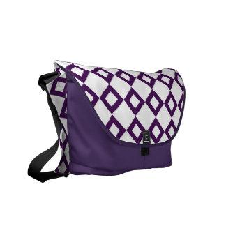 White and Purple Diamond Pattern Messenger Bag