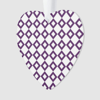 White and Purple Diamond Pattern Ornament