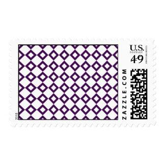 White and Purple Diamond Pattern Postage