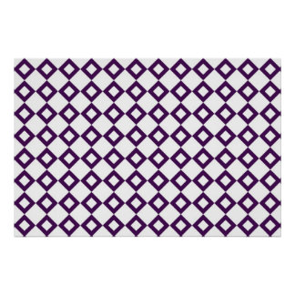 White and Purple Diamond Pattern Poster