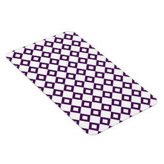 White and Purple Diamond Pattern Rectangular Photo Magnet