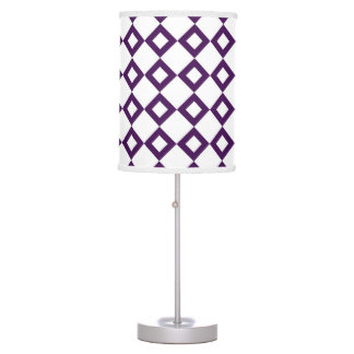 White and Purple Diamond Pattern Table Lamp