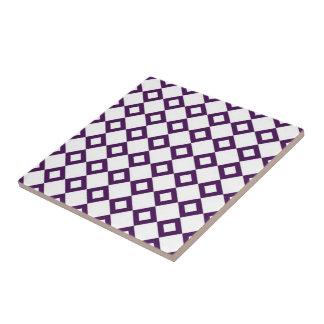 White and Purple Diamond Pattern Tile