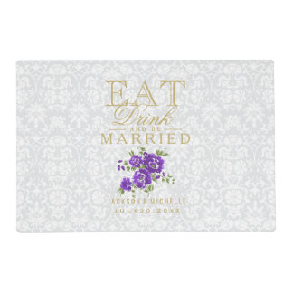 White and Purple - Eat Drink and Be Married Placemat