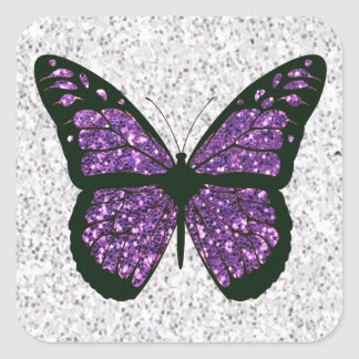 White and Purple Faux Glittery Butterfly Square Sticker