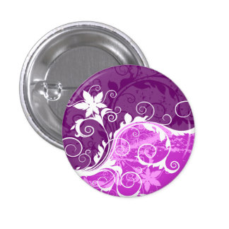 White and Purple Floral Grunge Pinback Button