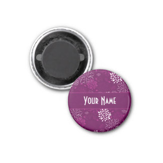 White and Purple Floral Magnet