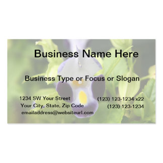 white and purple flower close up business card