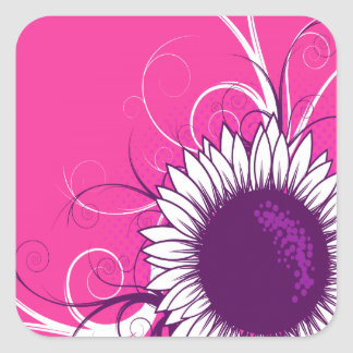 White and Purple Flower on Pink Square Stickers