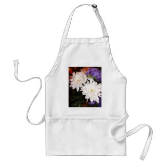 White and Purple Flowers Adult Apron