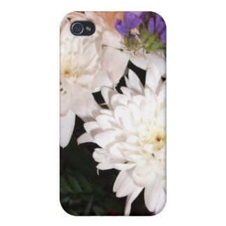 White and Purple Flowers Case For iPhone 4