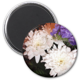White and Purple Flowers Fridge Magnet