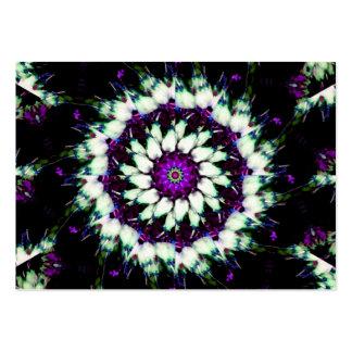 White and Purple Kaleidoscope Mandala Large Business Card