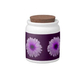 White and Purple Marigold Candy Jar