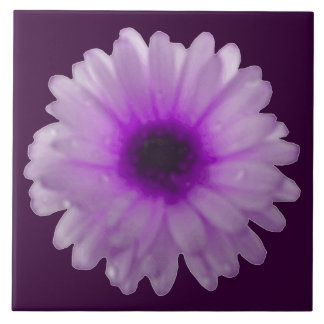 White and Purple Marigold Tile