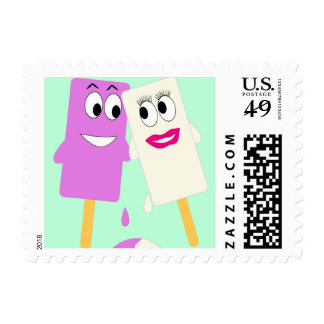 White and Purple Melting Ice Creams Stamp
